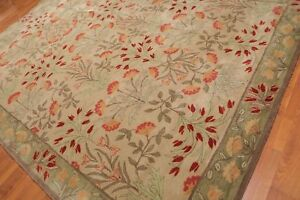Old-Hand-Made-Beige-Traditional-Nain-Floral-Zieglar-Oriental-Wool-Area-Rug