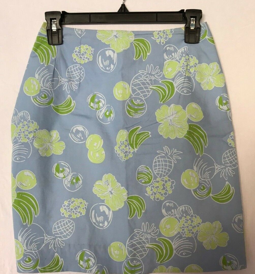 LILLY PULITZER VINTAGE WHITE LABEL Skirt  purplec Pineapple Flower Size 0
