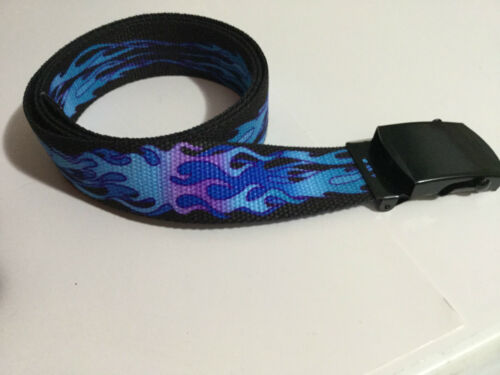 """New Men/'s BLUE FLAME Cotton Fabric Web Belt Made in the USA 1.25/"""" X 60/"""""""