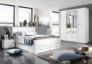 Details zu Rauch Schlafzimmer-Set Drehtürenschrank 4-türig,  Schubkastenbett, Nachtkonsole