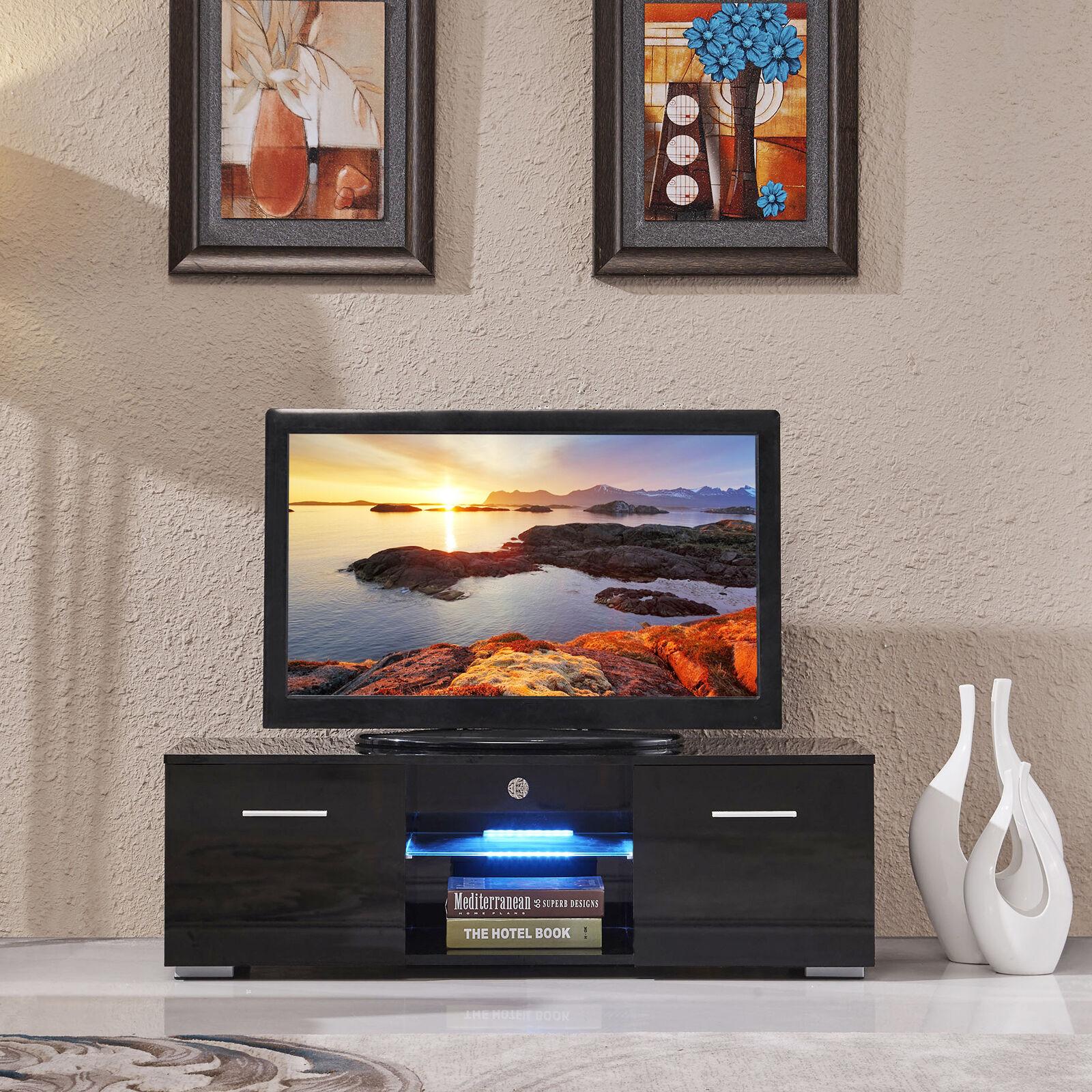 high gloss tv stand unit cabinet w led shelves 2 drawers. Black Bedroom Furniture Sets. Home Design Ideas