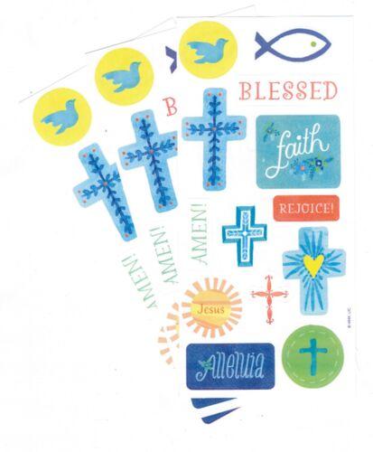 3 Sheets Religious Blessed Faith Rejoice Jesus Scrapbook Hallmark Stickers!