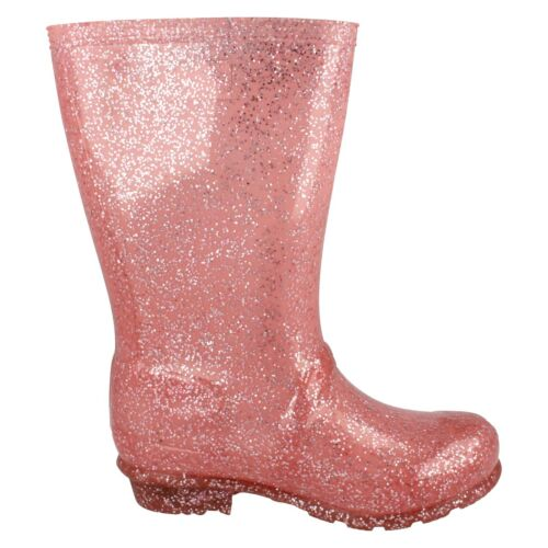 Wellies X1R253 Ladies Rose Pink Glitter Spot On Sparkly Wellingtons