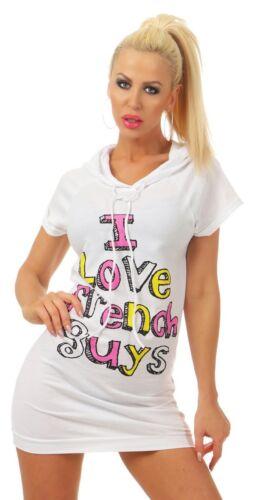 4938 Freches Damen Kapuzen Shirt Kurzarm Kapuzenshirt Sweatshirt Longshirt Weiß