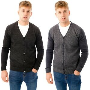 Mens-Button-Up-Cardigan-Knitted-V-Neck-Designer-Sweater-Long-Sleeve-Jumper-Slim