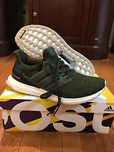 Adidas Men's Olive Green Ultra Boost 3