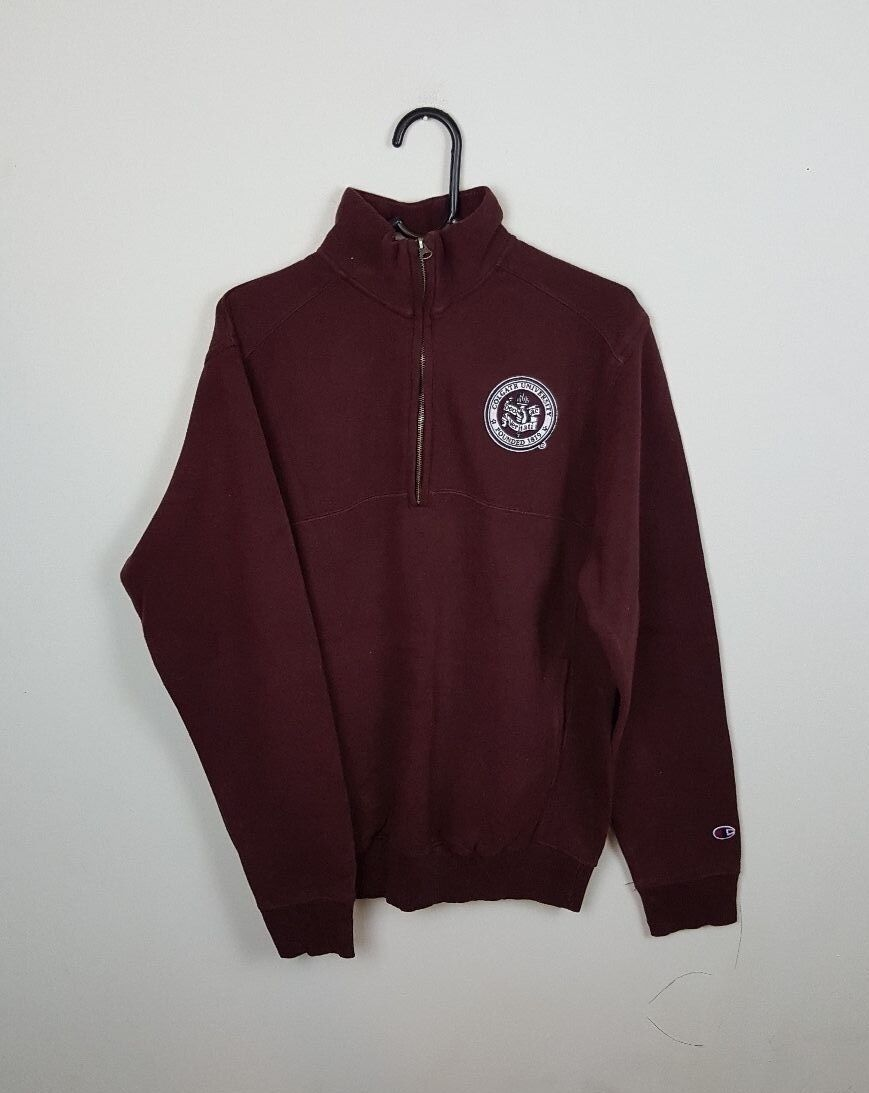 VTG BURGUNDY PRO COLLEGE CHAMPION ATHLETIC SPORTS OVERHEAD SWEATSHIRT VGC UK M
