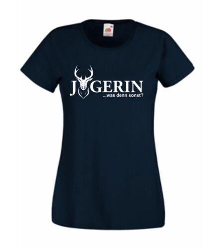 Jägerin T-Shirt viele Farben Jagd Jäger Reh Geweih Rehbock Jagdhund Shirt S421