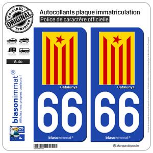 Estelada RojaCatalà 2 Blasons plaque d/'immatriculation auto66 Catalunya