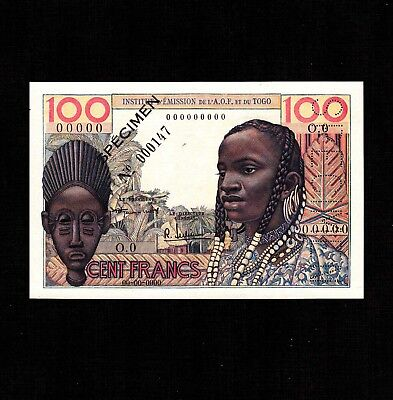 Specimen Unc Liberal French West Africa 100 Francs 1956 P-46s