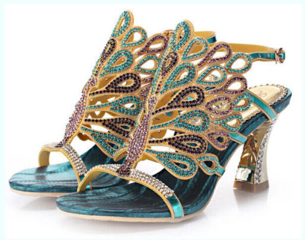 Donne splendide Strass Pavone con motivo Sandali Sandali Scarpe Fashion CH