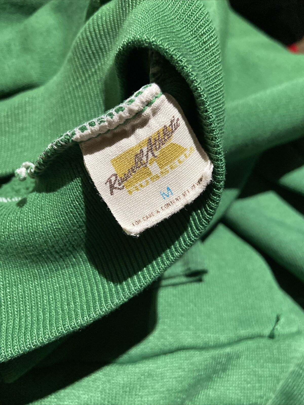 Vintage 70s Russell Athletic Green Pullover Hoodi… - image 5