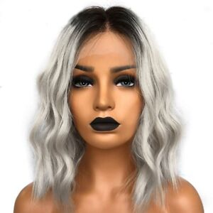 Gray-Ombre-Lace-Front-Wig-Human-Hair-Short-Virgin-Brazilian-Wavy-Full-Lace-Wigs