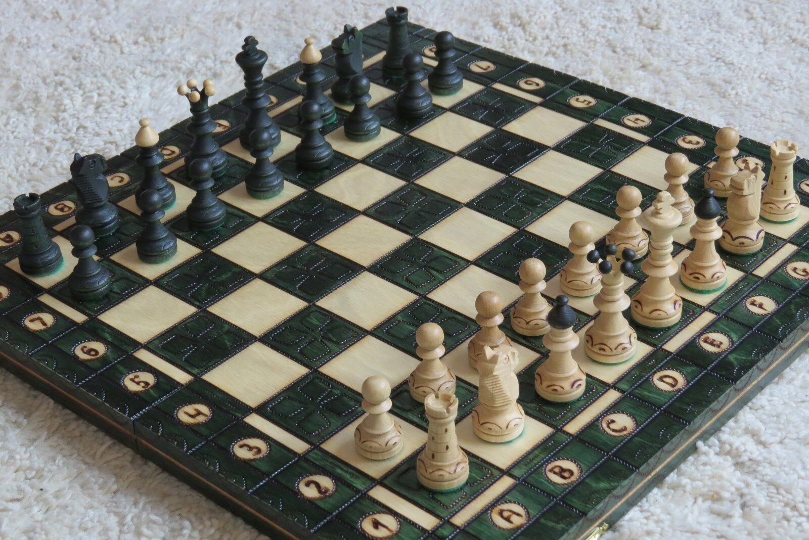Chess Great Noble Chess Game Junior Chess Board Wooden Handmade New Green