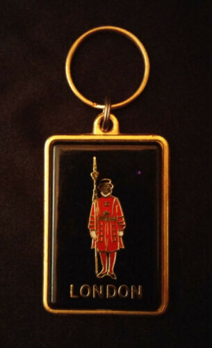Vintage Enamel on Brass Key Chain London British Tower Guard by Reli