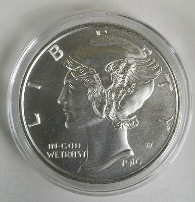 2 Oz .999 silver 1916 D Mercury Dime winged liberty large coin full bars art