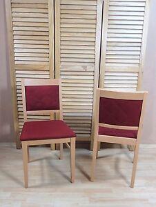 2 X Stühle Massiv Buche Rot Esszimmerstühle Küche Stuhl Modern