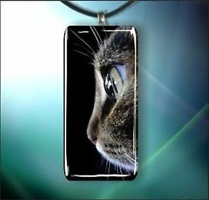 GLANCE-OF-A-GREY-CAT-GLASS-PENDANT-NECKLACE