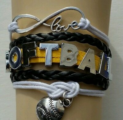 SOFTBALL LEATHER CHARM BRACELET SILVER-ADJUSTABLE-YELLOW/BLACK/WHITE-SPORTS-#45