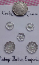Set of 5 Mixed Glass 2 hole Flower Design Vintage Buttons 14-18mm Craft Sewing