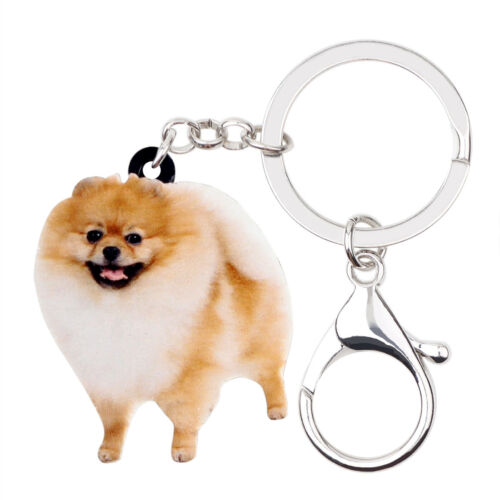 Acrylic Smile Pomeranian Dog Pet KeyChains Ring For Women Purse Bag Jewelry Gift