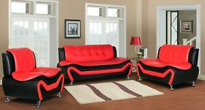 Details about Wanda Red/Black Bonded Leather Sofa Set-3PC, 2PC, Sofa,  Loveseat, Chair Option
