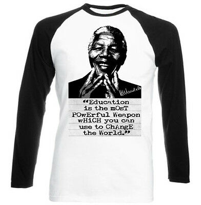 Men's Clothing Black Sleeved Baseball Tshirt S-m-l-xl-xxl 100% QualitäT Nelson Mandela Education Quote