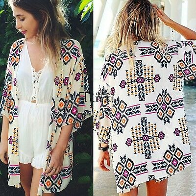 HOT Fashion Women Flower Printed Cardigan Chiffon Jacket Kimono Coat Tops Blouse