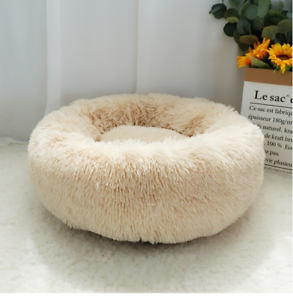 Luxury-Small-Beige-Warm-Fluffy-Pet-Bed-Dog-Puppy-Kitten-Fur-Donut-Cushion-50cm