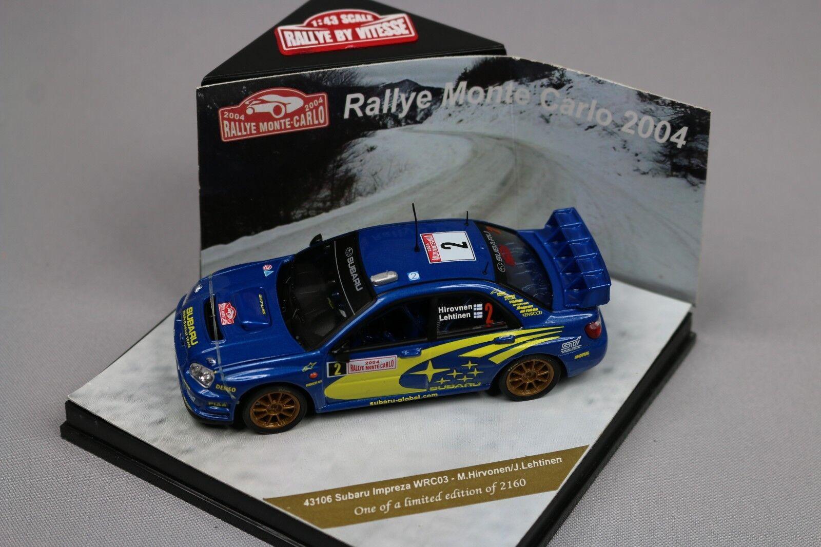 ZC593 Vitesse 43106 Voiture Miniature 1 43 Subaru Impreza WRC Monte Carlo 2004