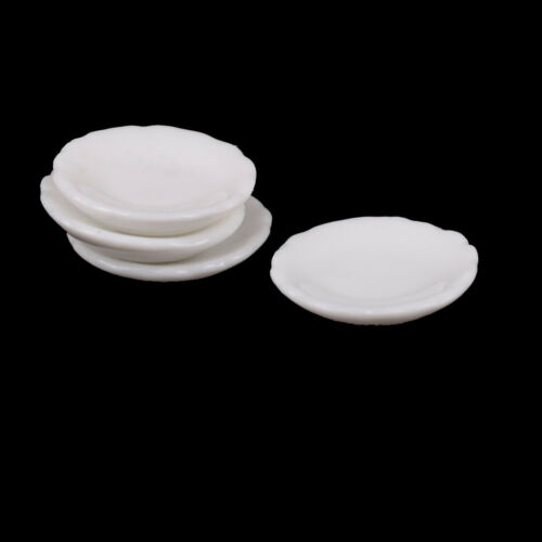 4pcs 1//12 Dollhouse Miniature White Round Dishes Plate Tableware Kitchen Toy  BB