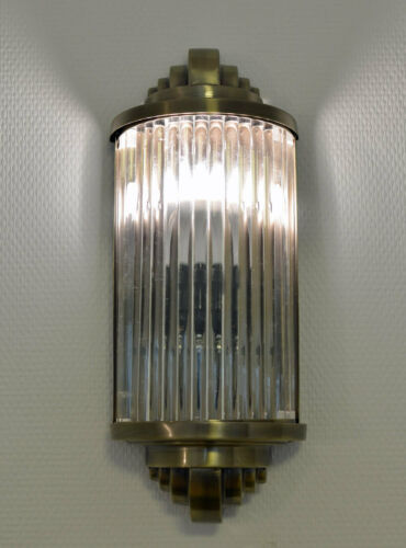 Art Déco Tige de Verre Applique Murale Magasin Bricolage Lampe Antique Métal /&