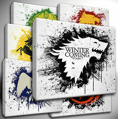 Choose your - GAME of THRONES House Sigils Flag Motto - CANVAS Wall Art Picture