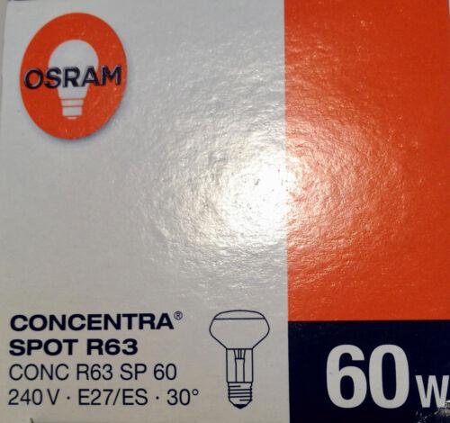 NEU Osram CONCENTRA Reflektor 60W E27 240V REFLEKTORLAMPE R63 STRAHLER SPOT 30°