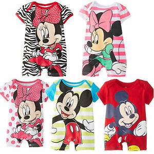 Disney-Baby-Boy-Girl-Bodysuits-Jumpsuit-Minnie-Grows-Rompers-Clothes-3-24-Months