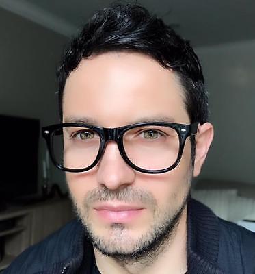 Retro Nerd Clear Lens Square Eyeglasses Men Women Frames Big Hipster Smart 8068