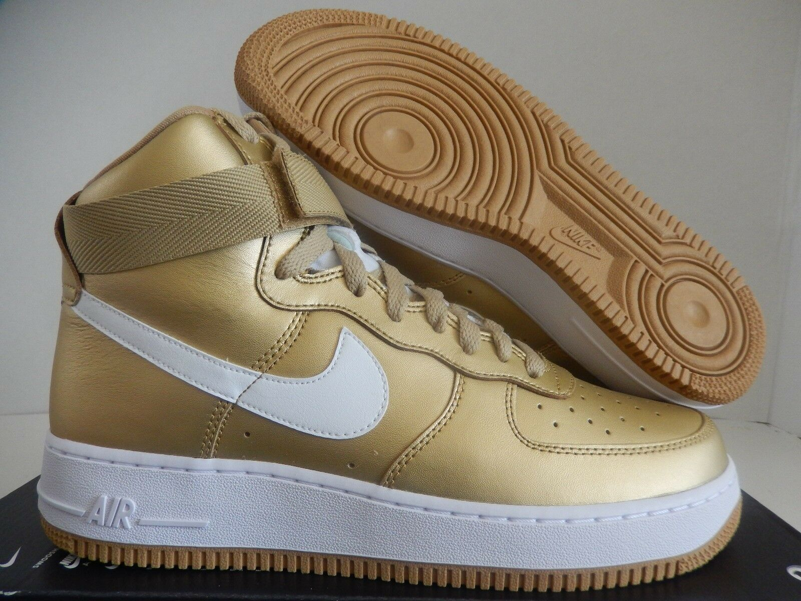 NIKE AIR FORCE 1 HI HIGH RETRO QS METALLIC GOLD-WHITE SZ 9 [823297-700]