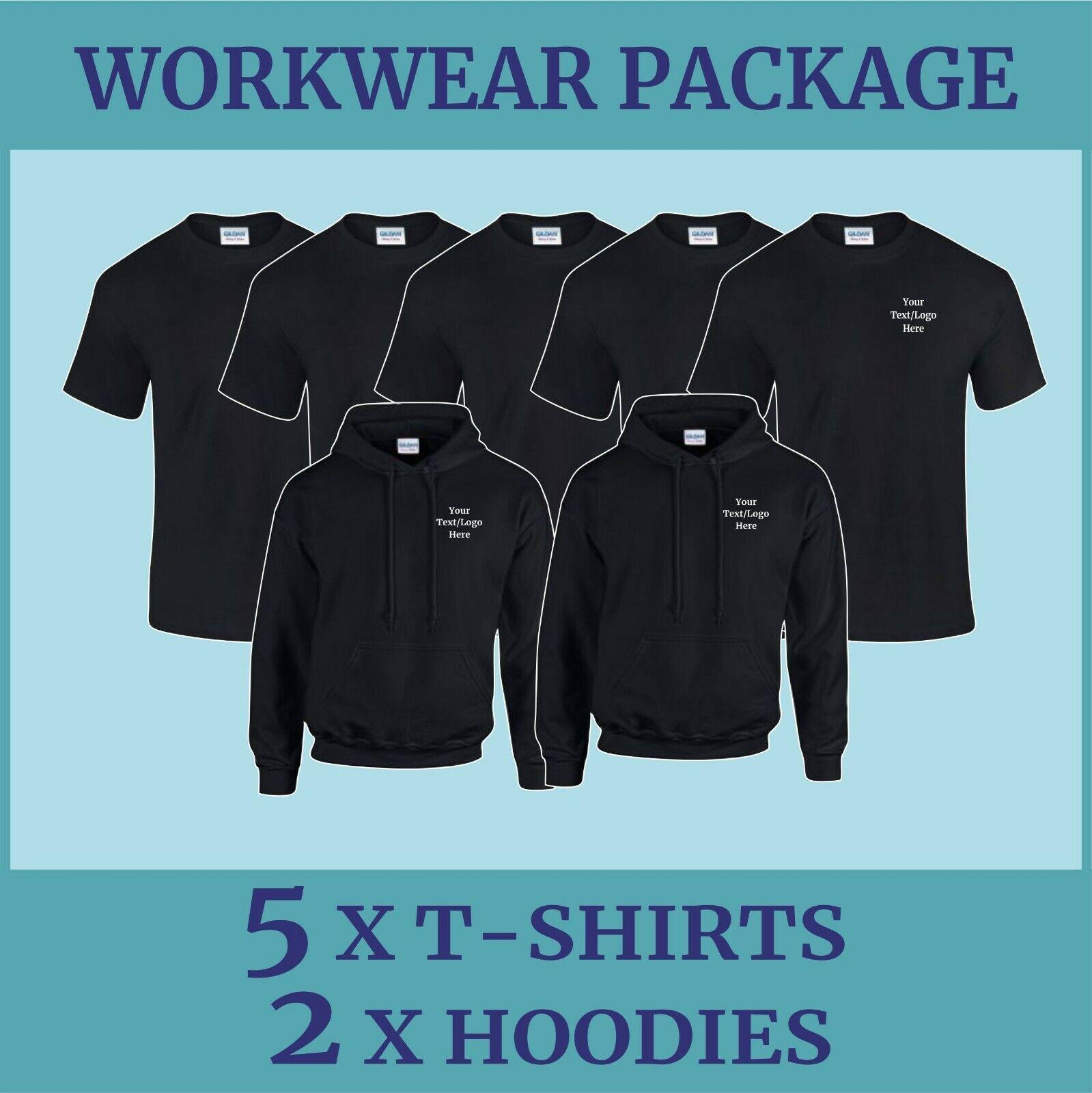 Work Wear Package 2 Personalised Printed  T-Shirt Hoodie Sweatshirt Polo Shirt
