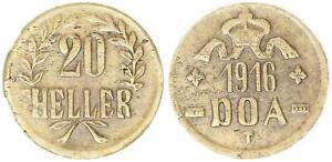 Colonies-German-East-Africa-20-Heller-1916T-J-727b-Brass-6-Vf-Xf