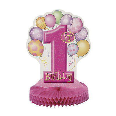 GIRLS PINK 1st BIRTHDAY 14 INCH HONEYCOMB TABLE DECORATION PARTY CENTERPIECE