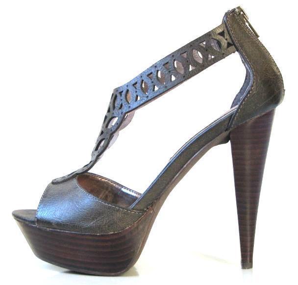 NEU STEVE MADDEN Luxe taupe open-toe lace T-strap platforms heels schuhe 6.5 SEXY
