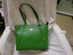 55e3291ca70e Michael kors MADDIE True Green Medium EW Top Zip Leather Tote $268 ...