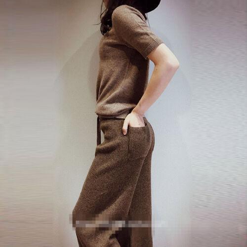 vita misto alta donna Pantaloni larga cashmere gamba da in a a fqcqBw0TIg