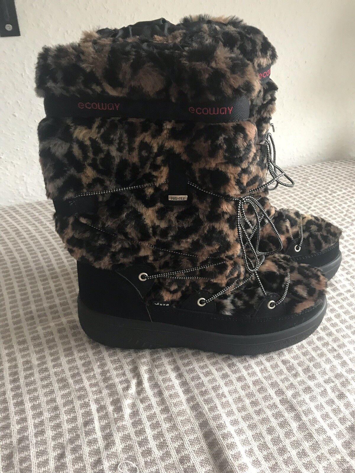Schneestiefel,Neu, Ecoway , Leoparden Muster, Größe 42, Warm Stiefel, Stiefel