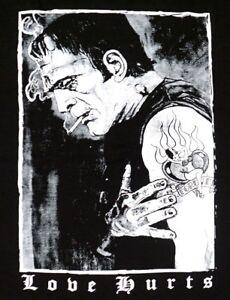 La foto se está cargando Frankenstein-Camiseta-amor-duele-Rockabilly-Psychobilly-Tee-Para-