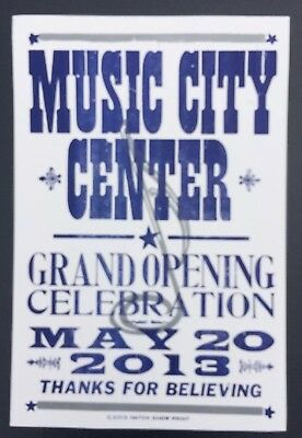 Collectibles Hatch Show Print Music City Center Grand Opening Nashville 2013 Poster
