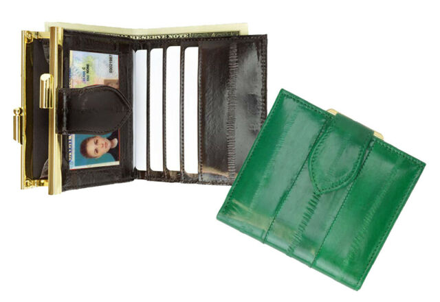 Genuine EEL SKIN French Coin Bifold w//Snap Button Wallet//Purse//Bag Small//Mini