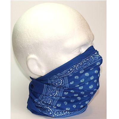 Mens Tube Snood Scarf Royal Blue White Paisley Biker Mask for under Helmet Ski