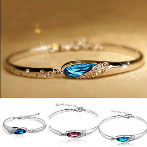 Fashion-Women-Silver-Plated-Crystal-Chain-Bangle-Cuff-Charm-Bracelet-Jewelry