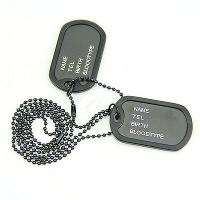 NEW Military Army Style Black 2 Dog Tags Silver ball Chain Mens Pendant Necklace